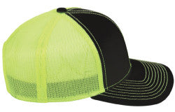 In Season Logo Trucker Hat - Black & Lime Green
