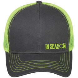 e8dc244cb583e In Season Logo Trucker Hat - Lime Green   Grey – In Season Apparel