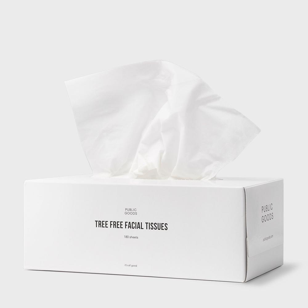 box of public goods tree free facial tissues