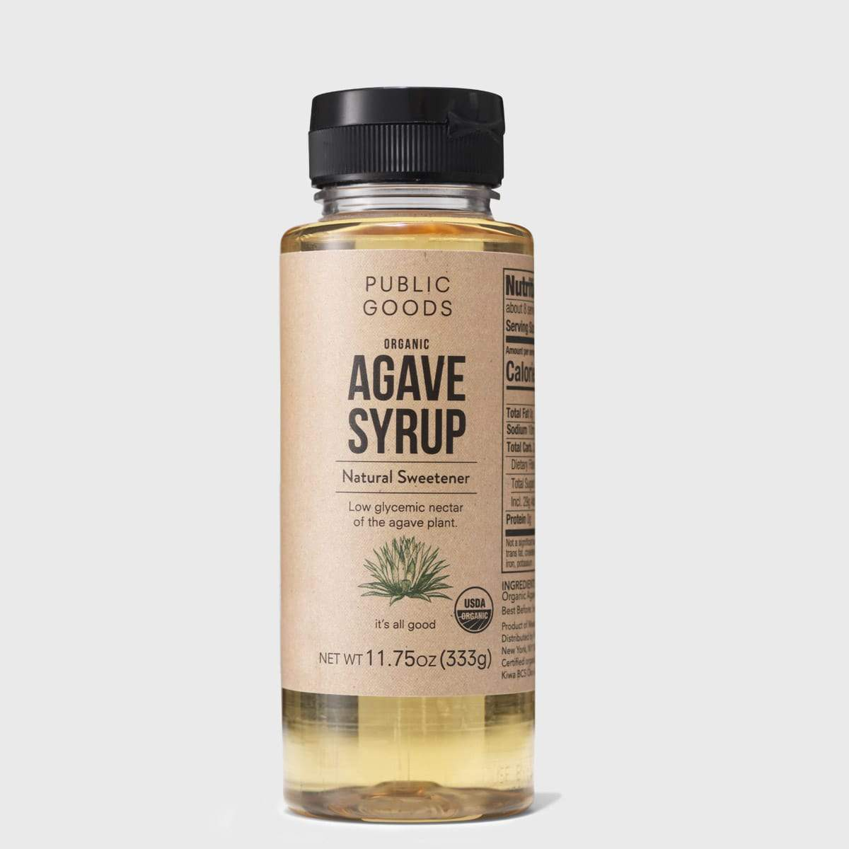 bottle of organic agave syrup