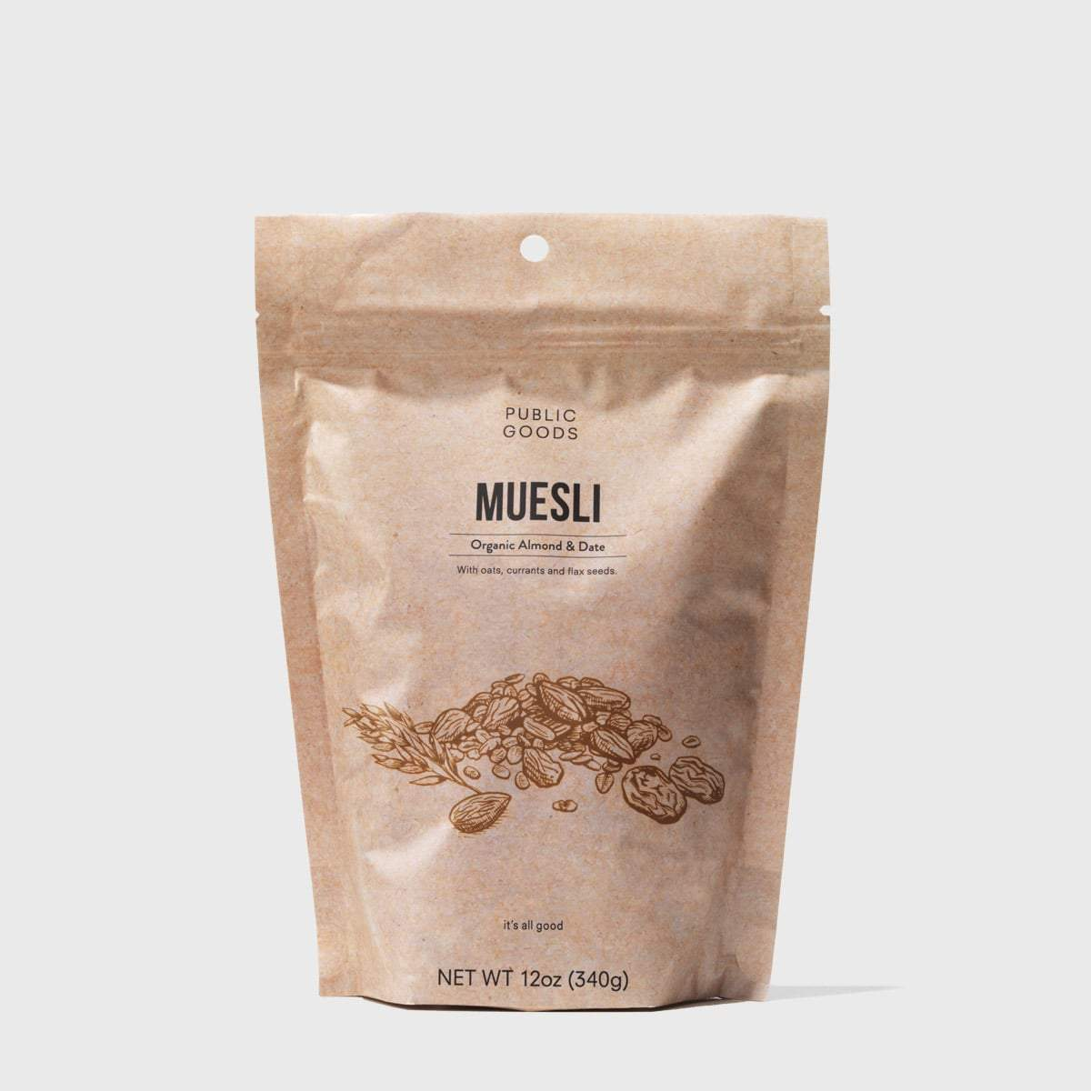 bag of organic almond and date muesli