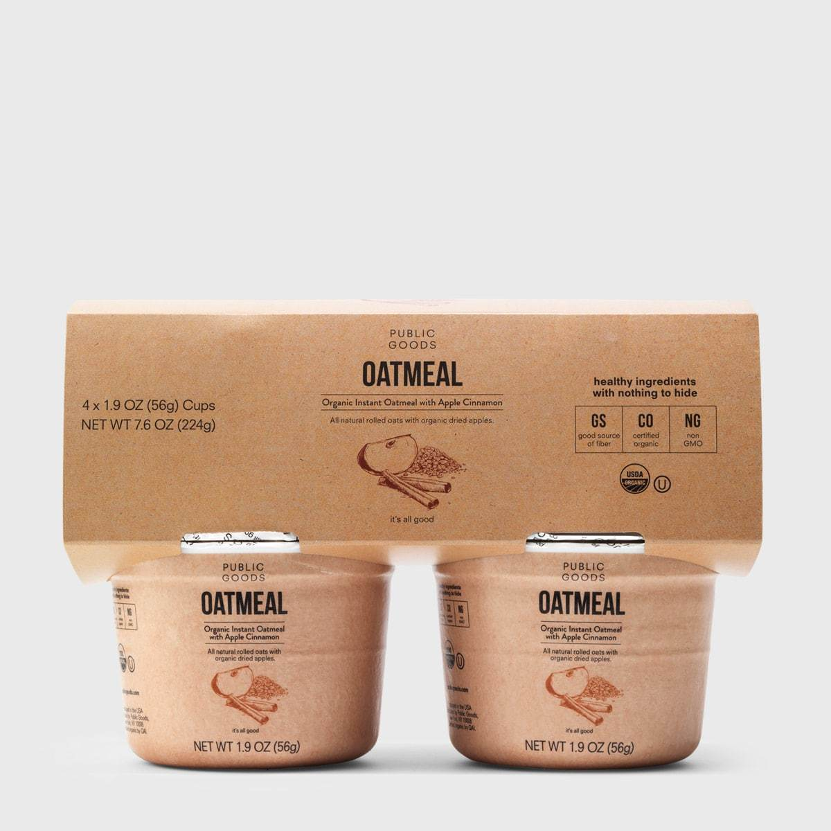 four pack of public goods apple cinnamon oatmeal cups