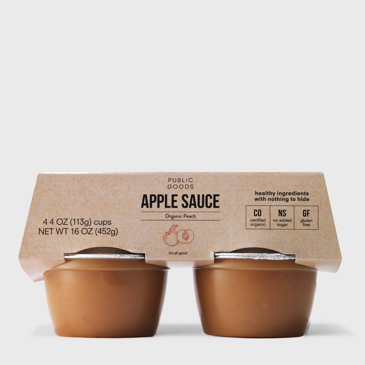 Peach Applesauce Cups 4 ct (Case of 12)