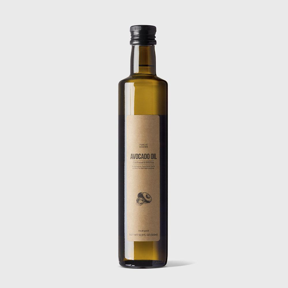 bottle of cold pressed avocado oil