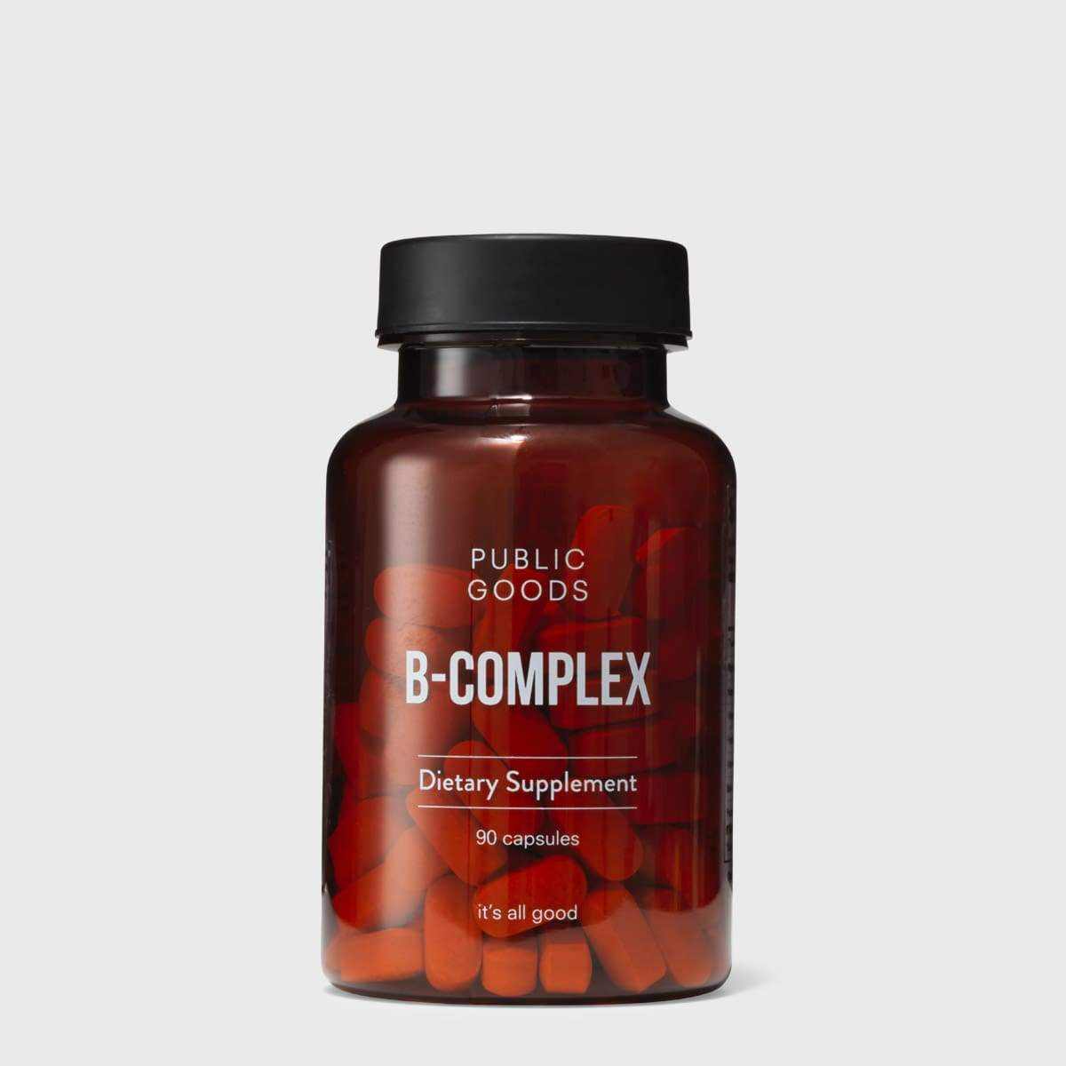 bottle of public goods b-complex supplement capsules