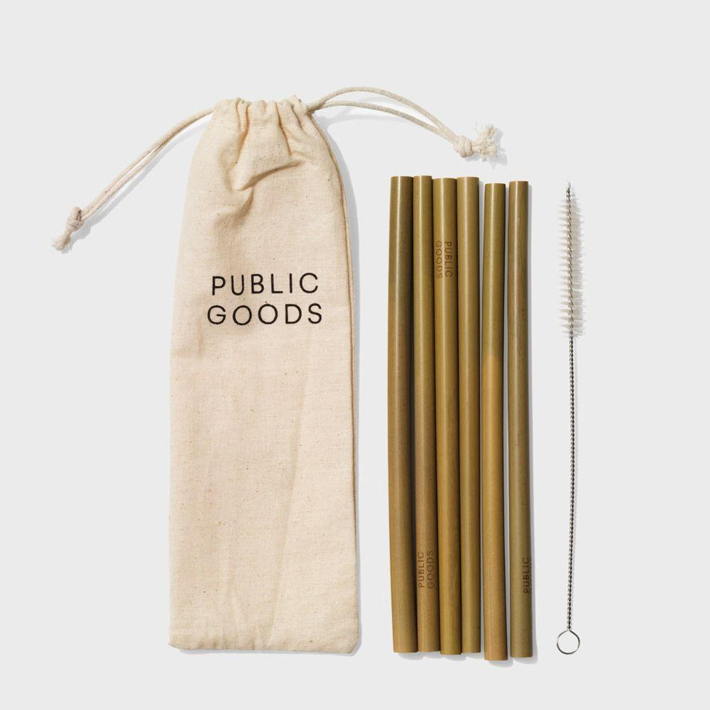 public goods branded cotton pouch, six bamboo straws, bamboo straw cleaner