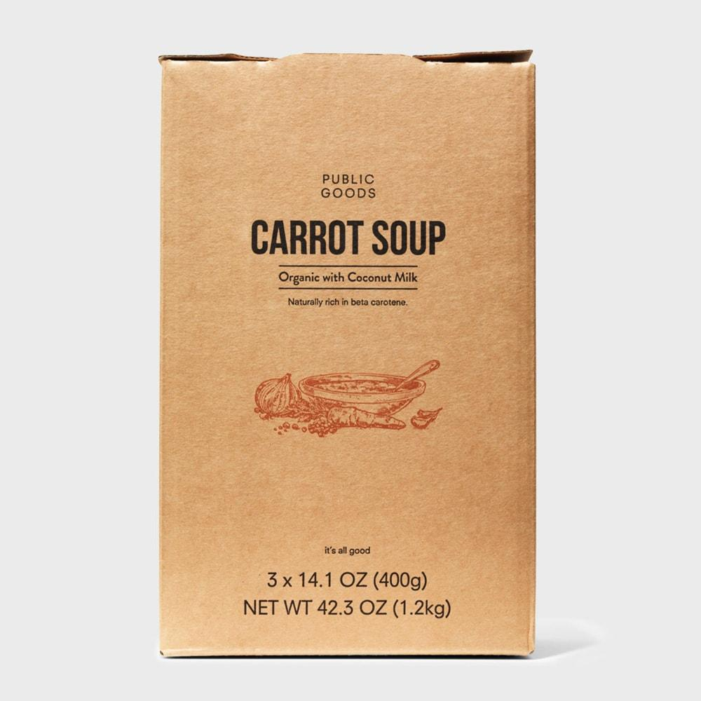 box of public goods carrot soup