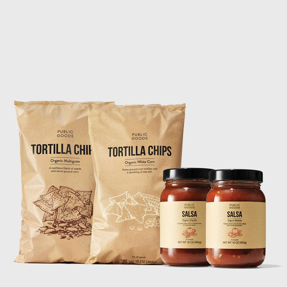 two bags of tortilla chips, two jars of salsa