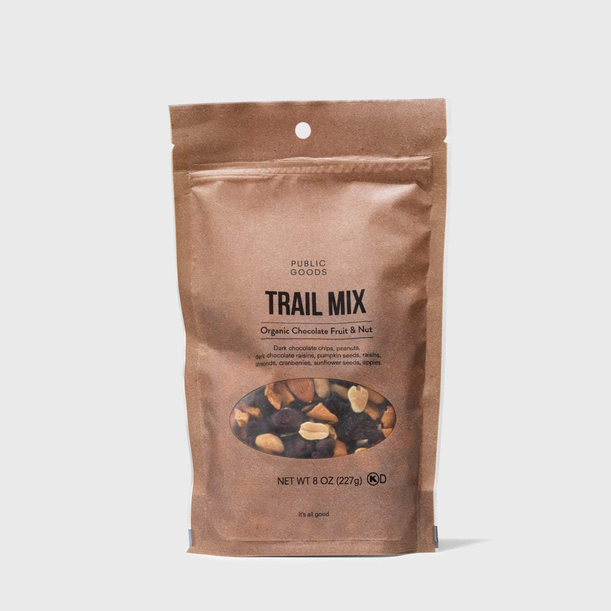 bag of public goods organic chocolate fruit and nut trail mix