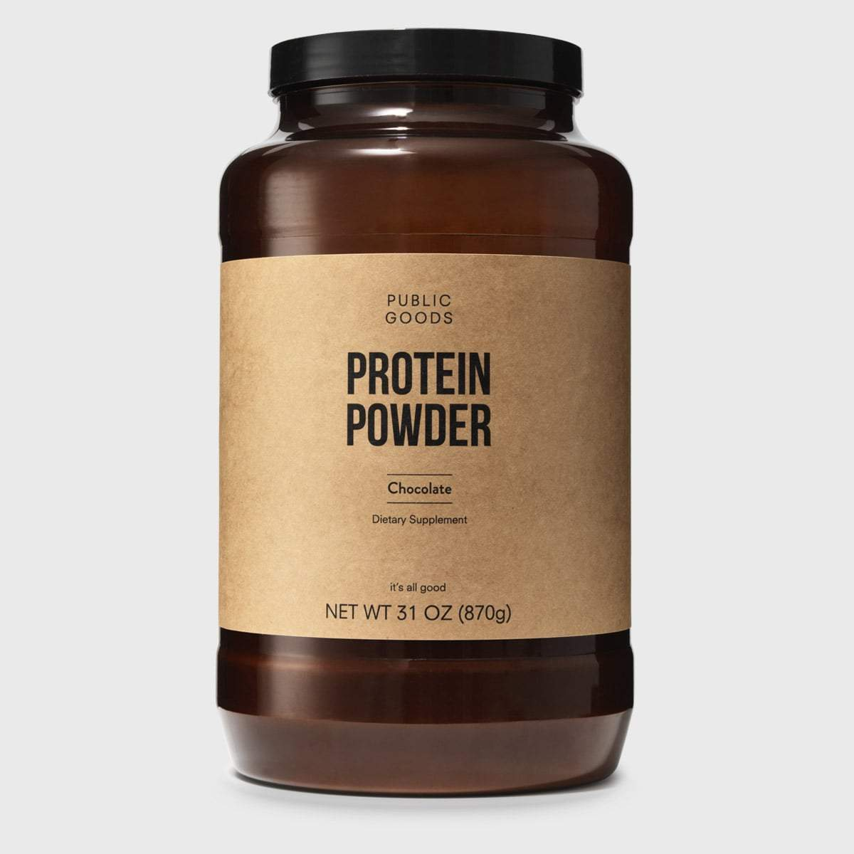 chocolate protein powder in large container