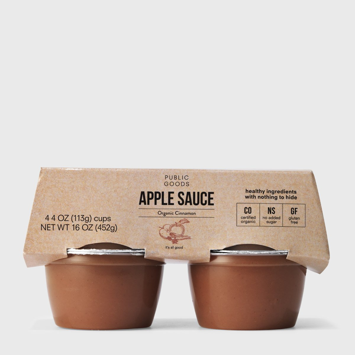 4 pack of organic cinnamon apple sauce cups