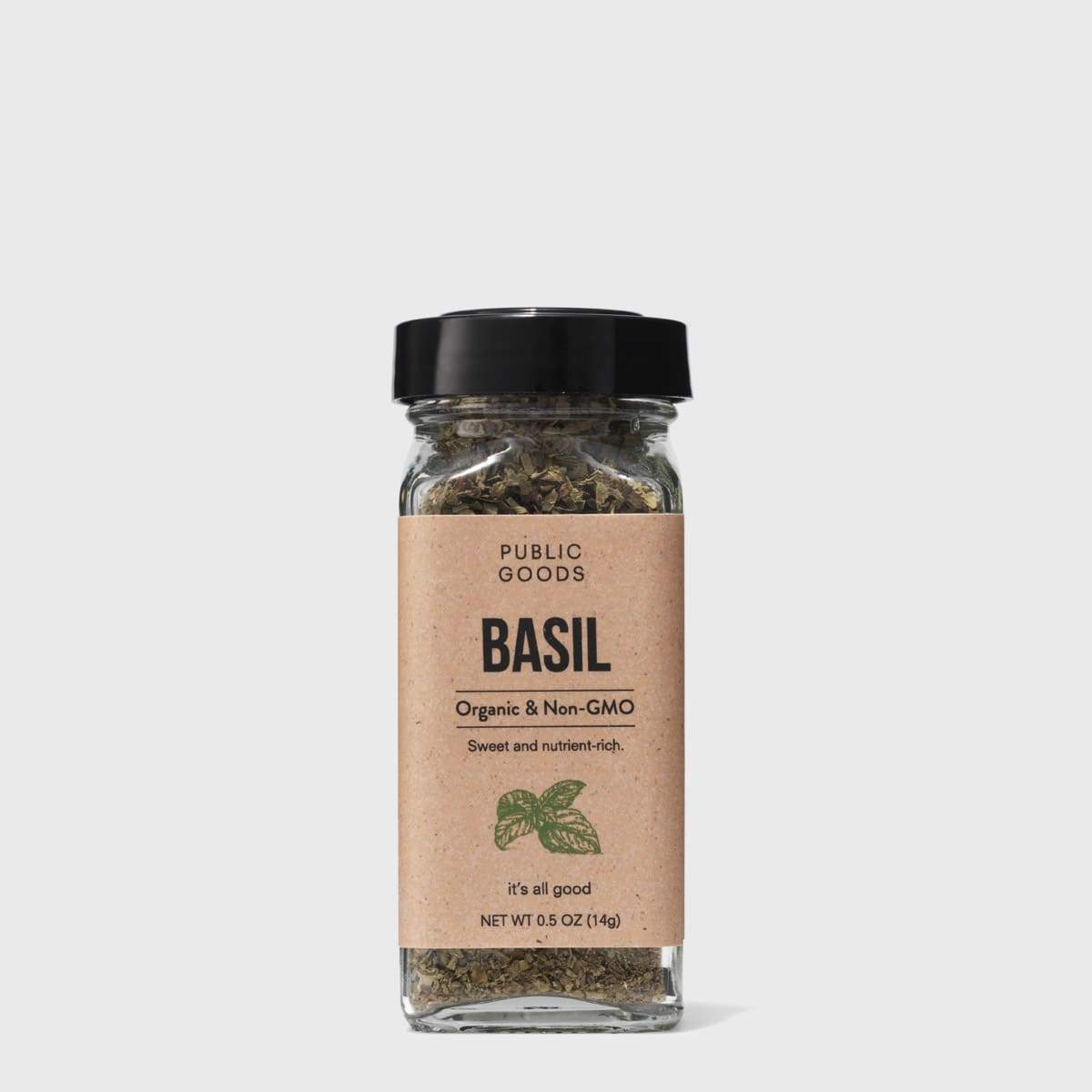 container of organic dried basil seasoning