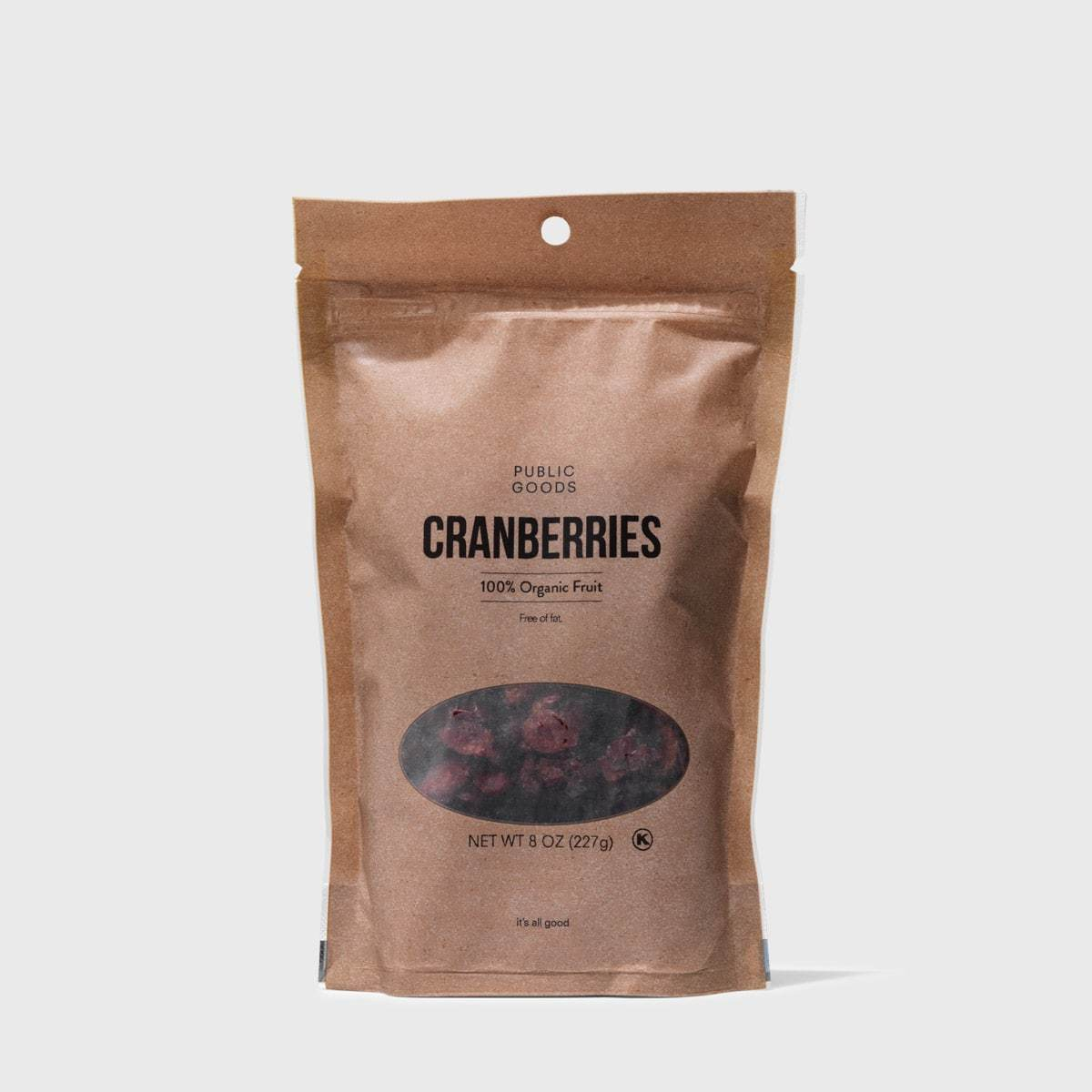 bag of organic dried cranberries