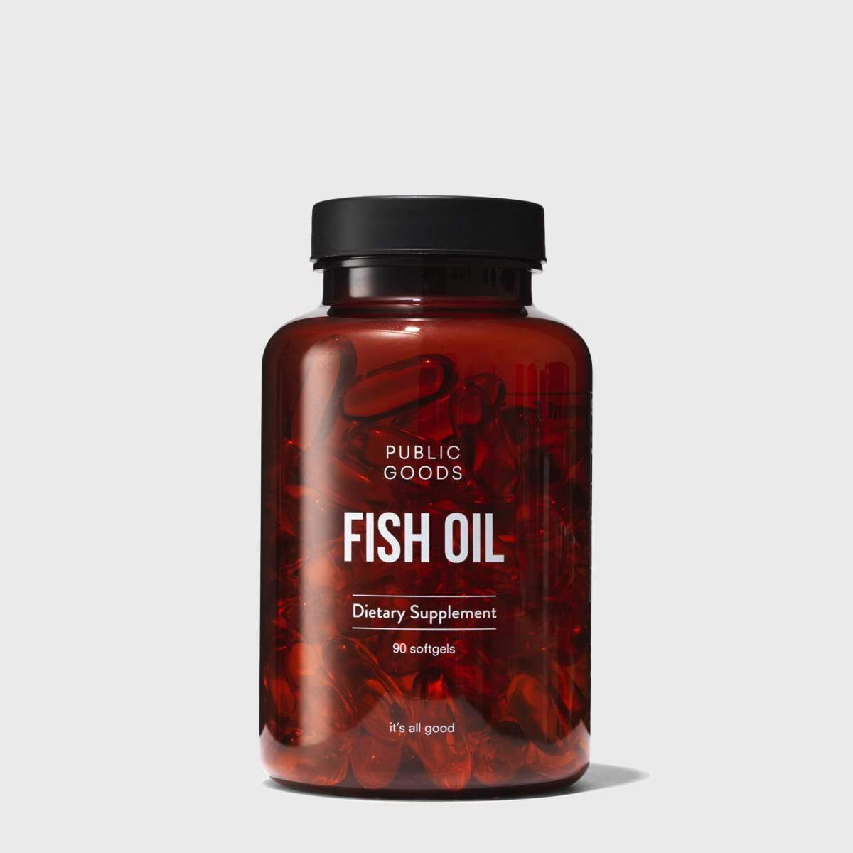 bottle of 90 fish oil capsules from pubic goods