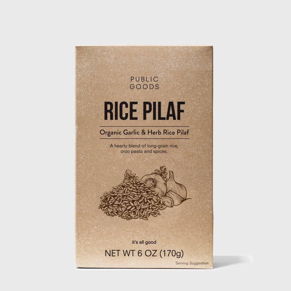 box of public goods garlic and herb rice pilaf