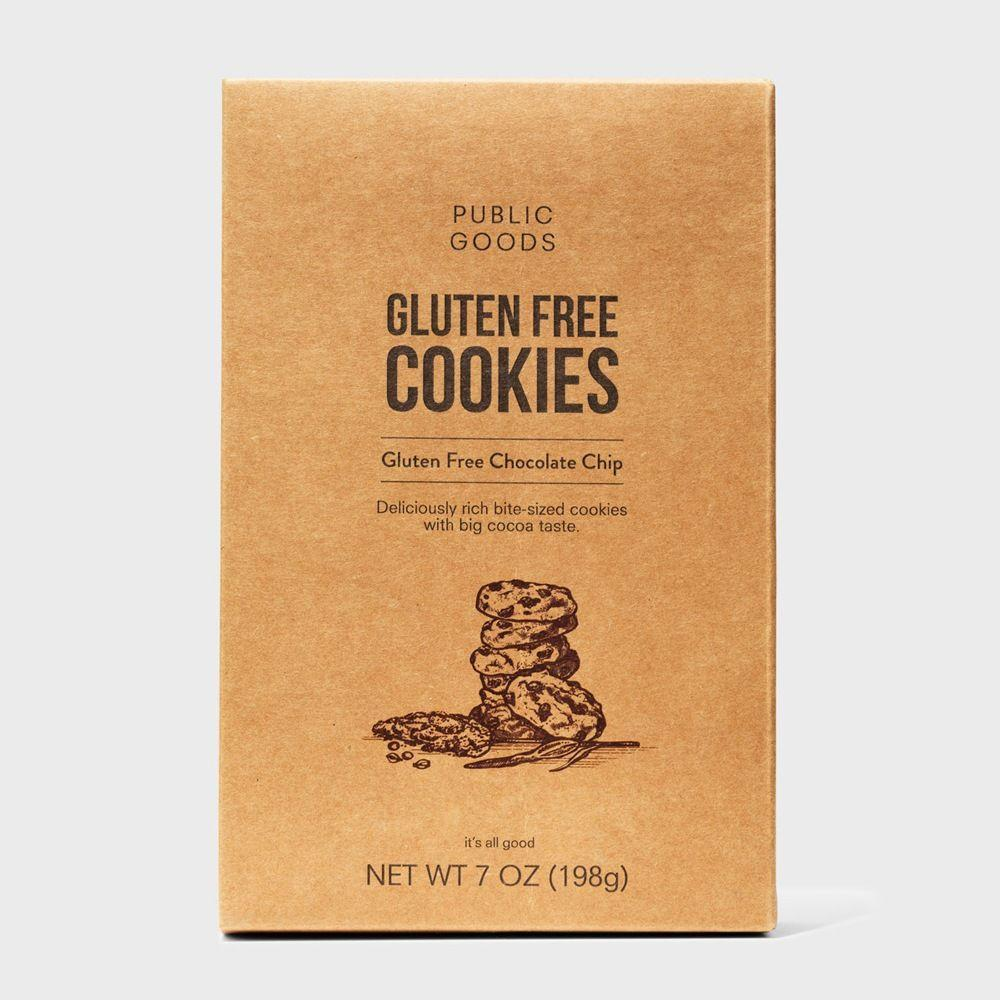box of public goods gluten free chocolate chip cookies