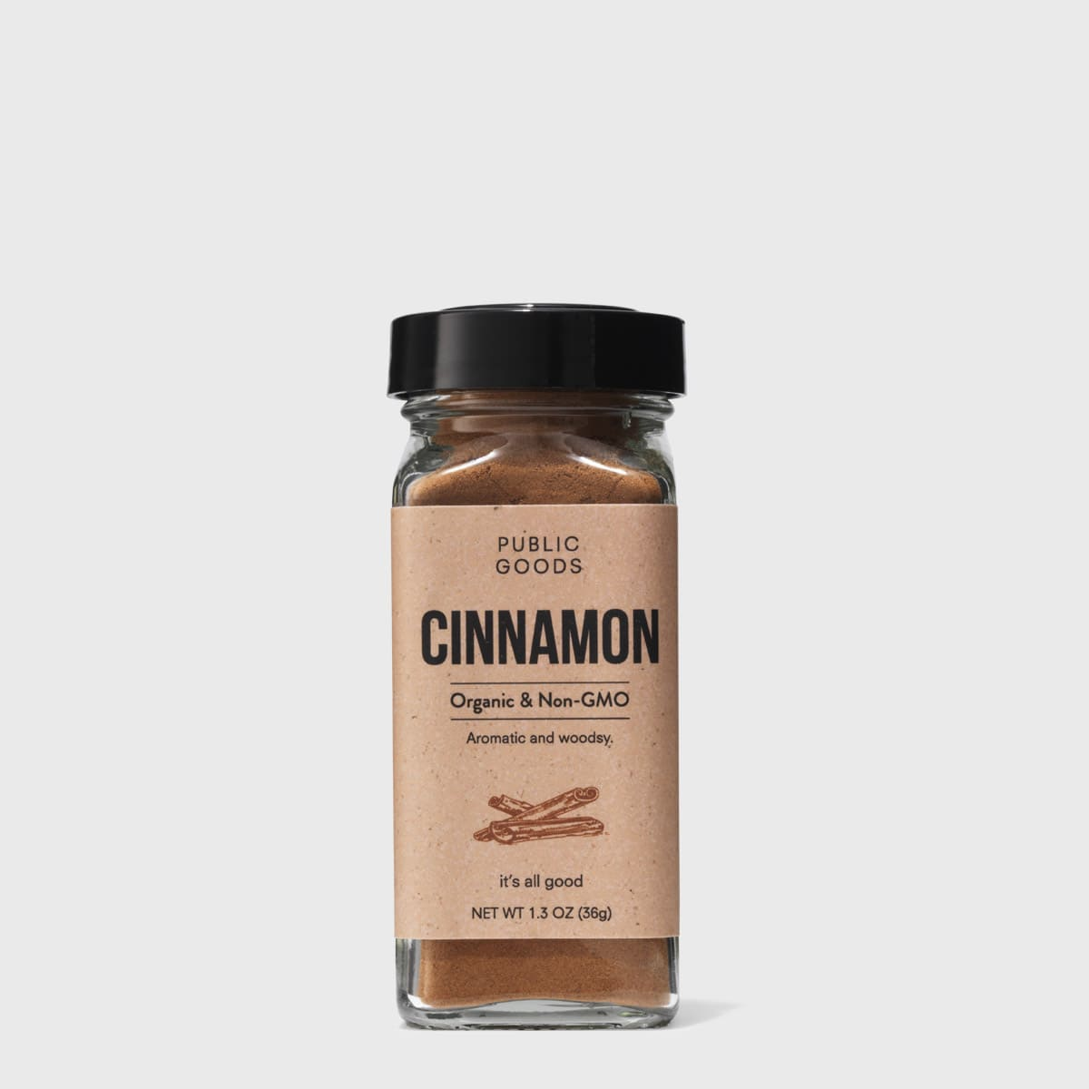 ground cinnamon in a glass container