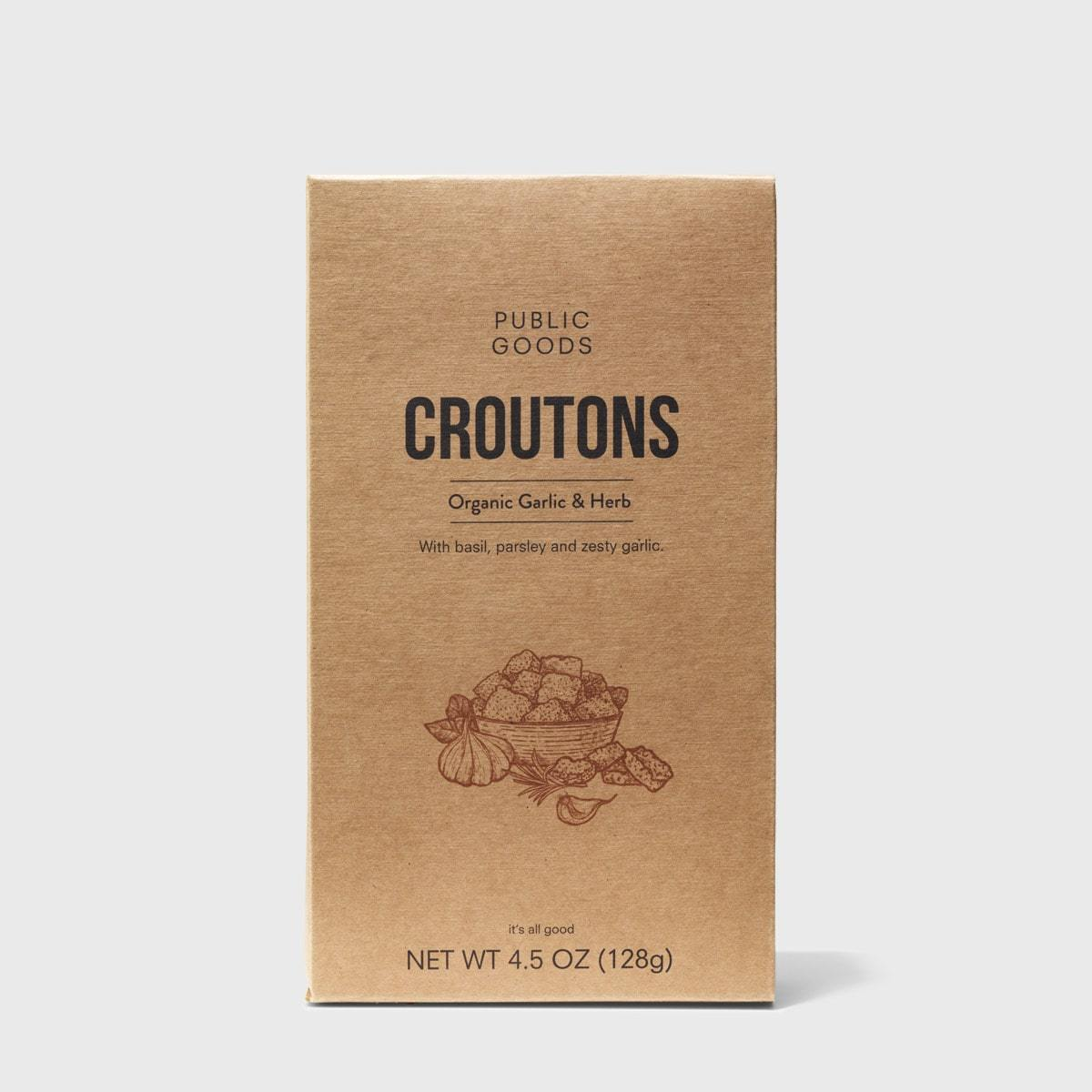 box of organic garlic and herb croutons