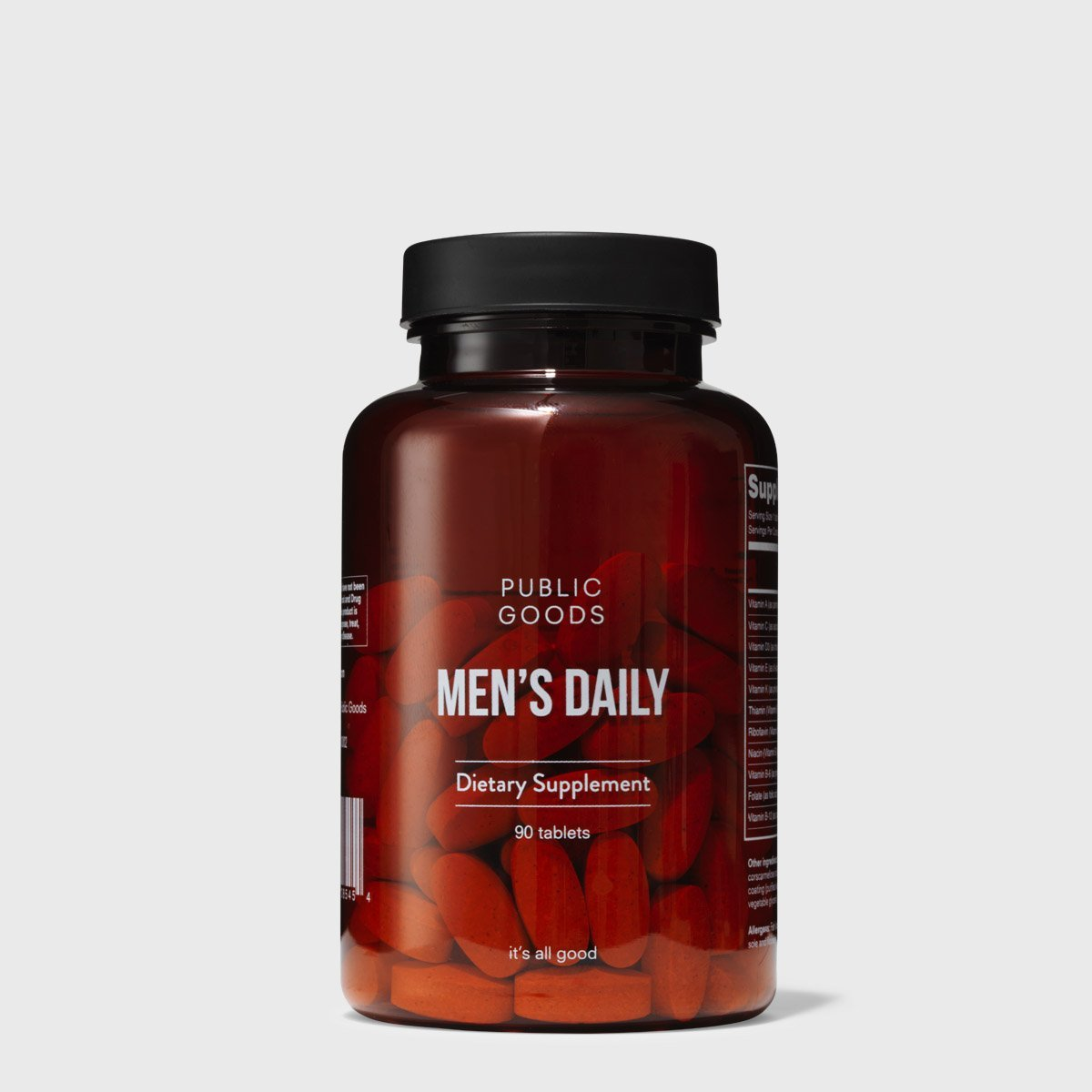 bottle of mens daily multivitamin supplement