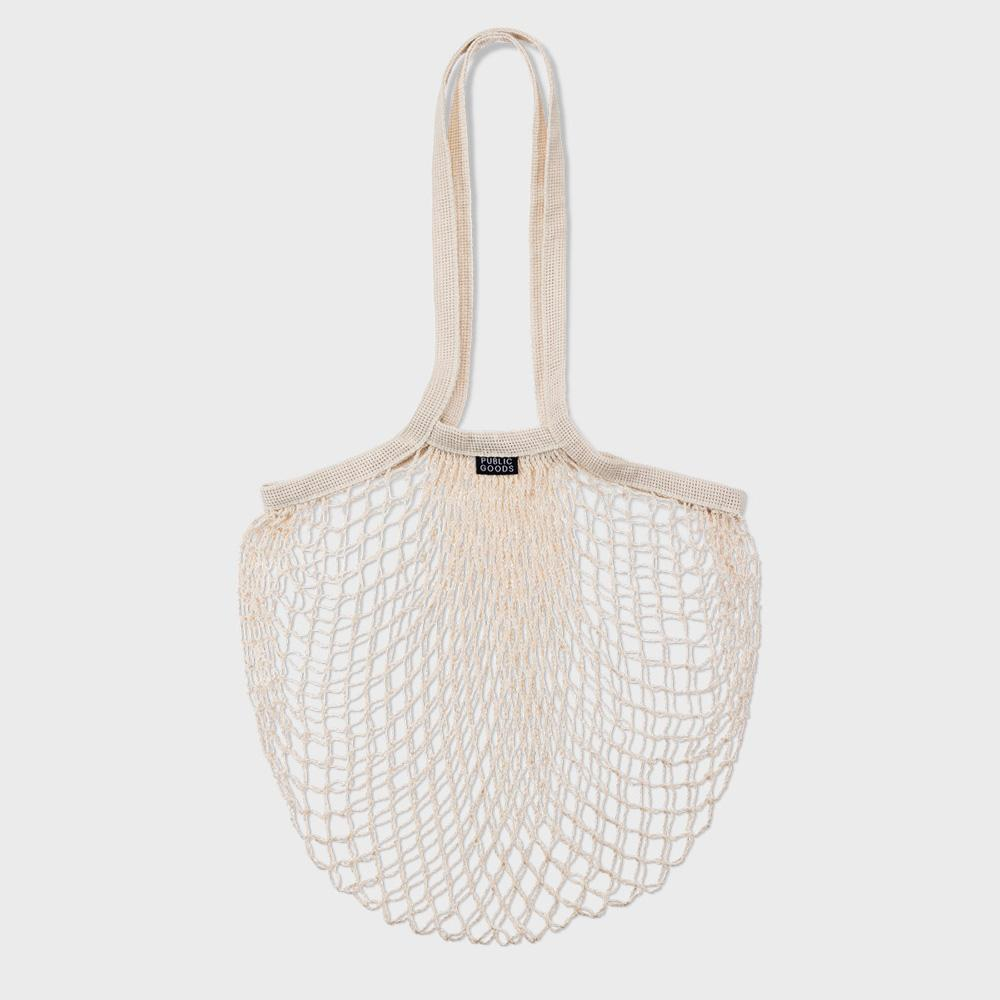 public goods branded wide mesh tote bag