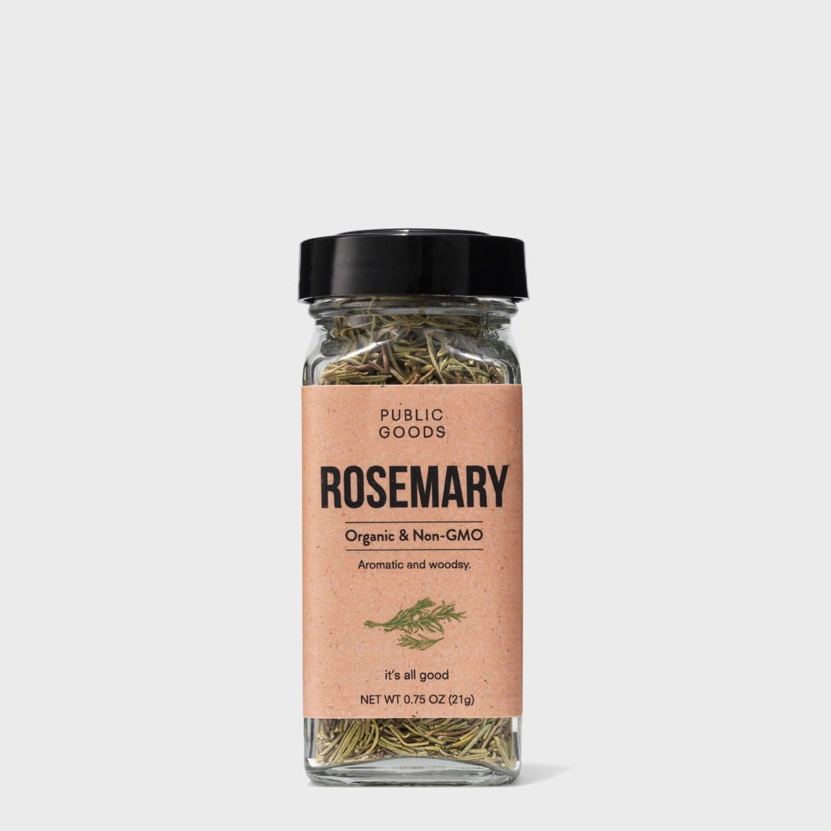 organic dried rosemary in a sealed container