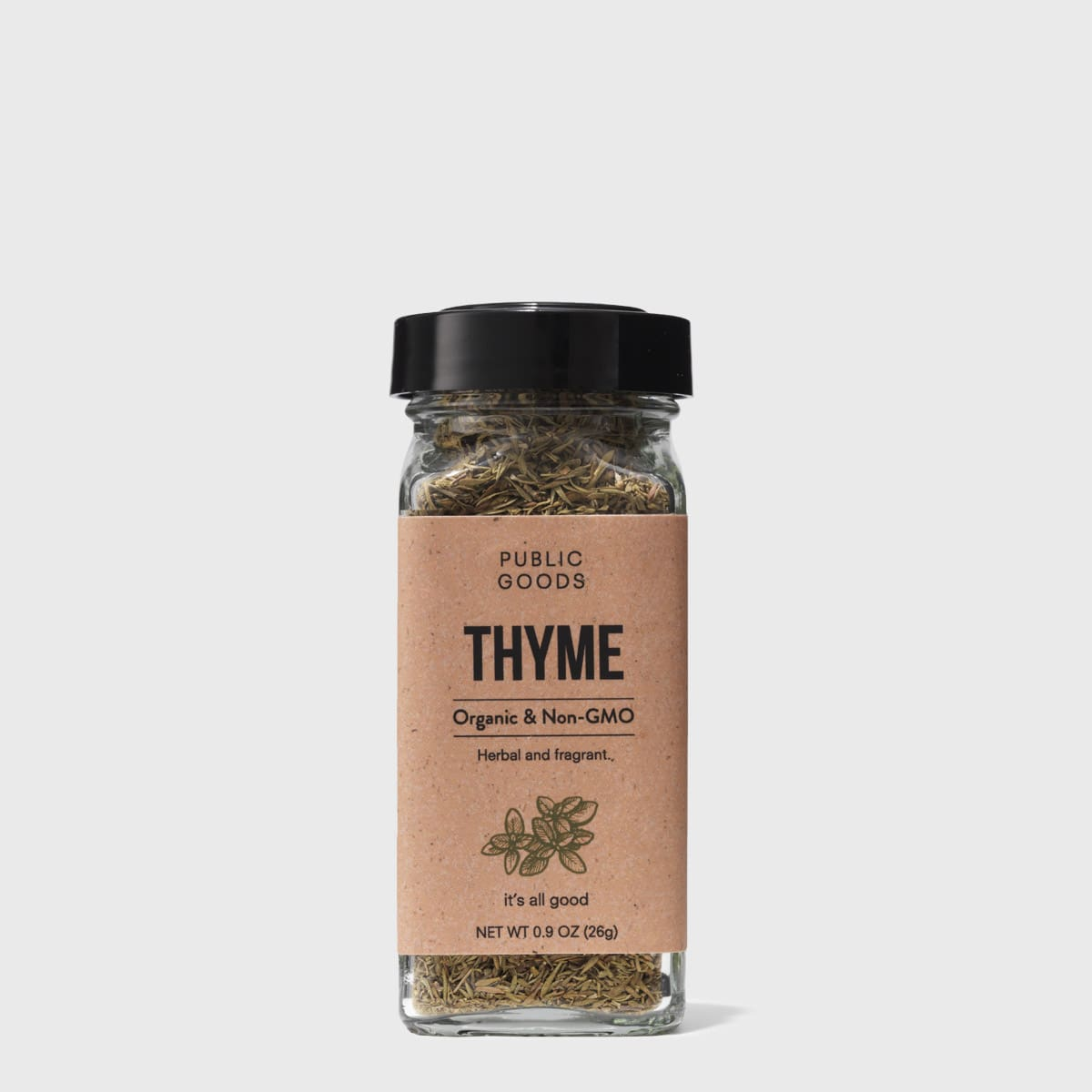 organic dried thyme in a sealed container