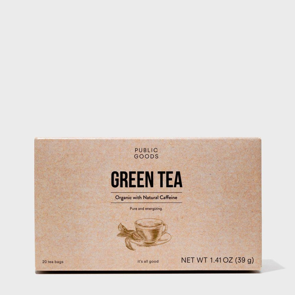 box of organic green tea teabags