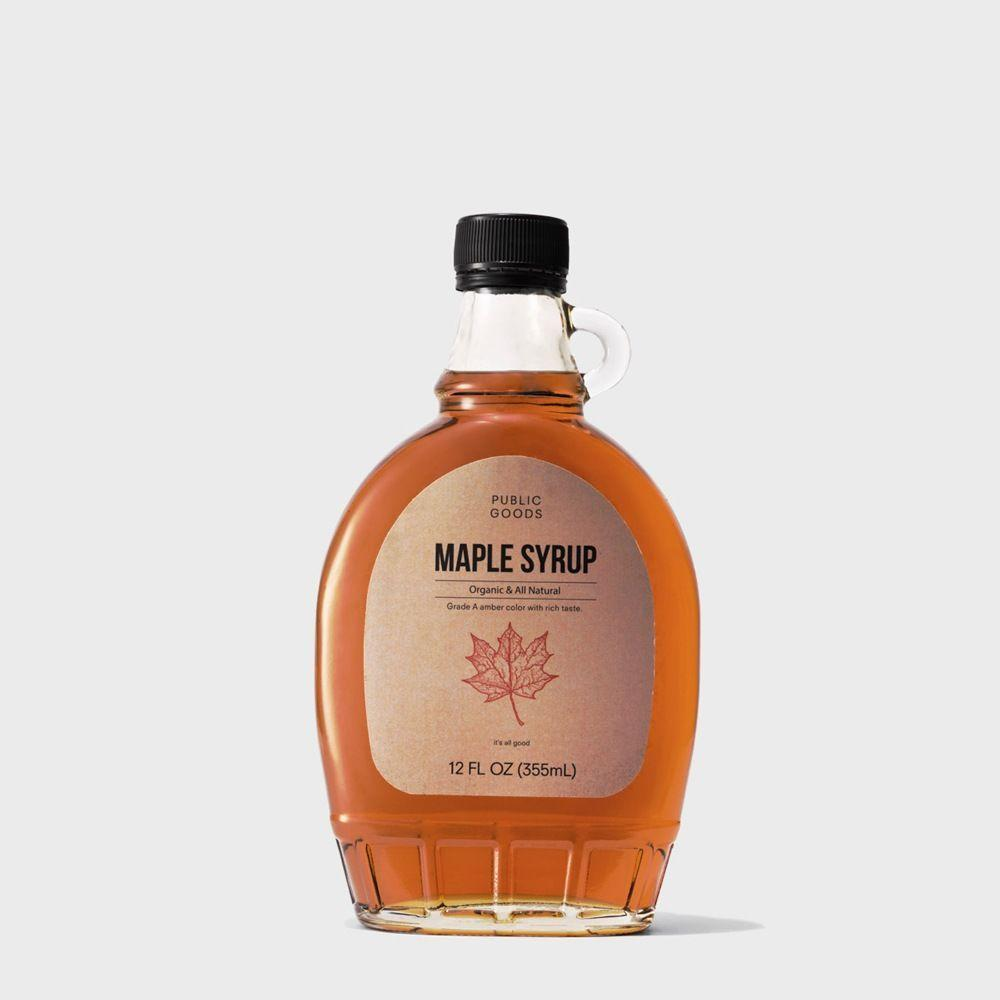 12 ounce bottle of organic maple syrup from public goods