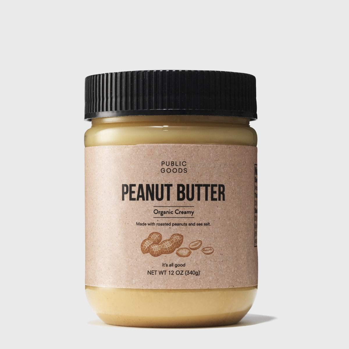 plastic jar of organic peanut butter