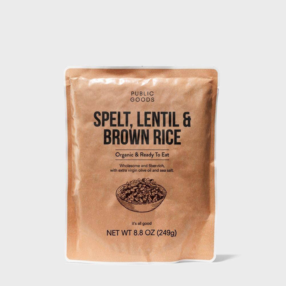 bag of organic spelt lentil and brown rice