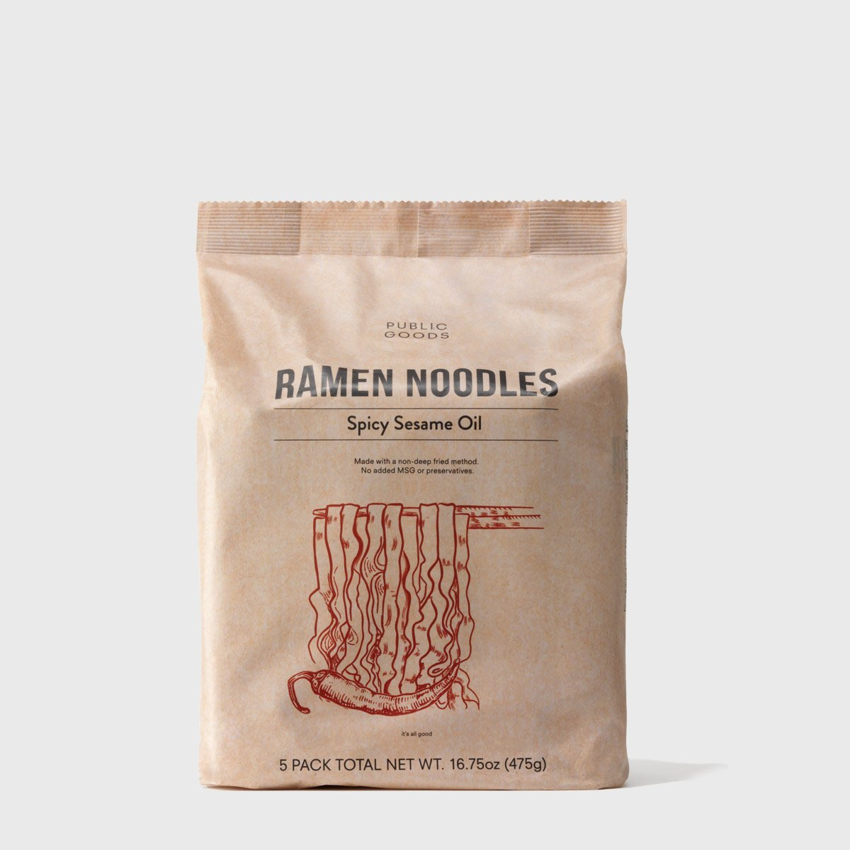 pack of spicy sesame oil ramen noodles