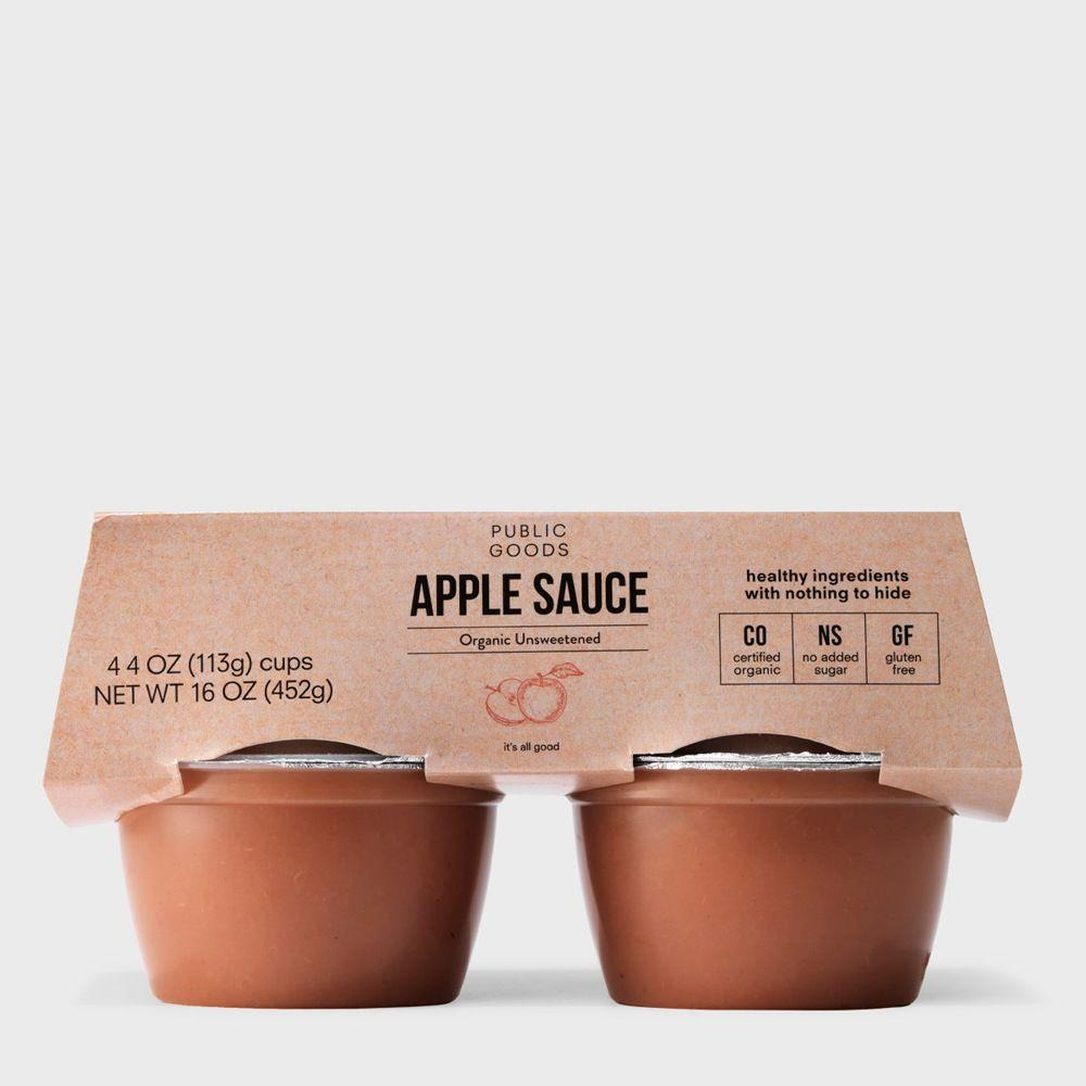 4 pack of organic unsweetened applesauce cups