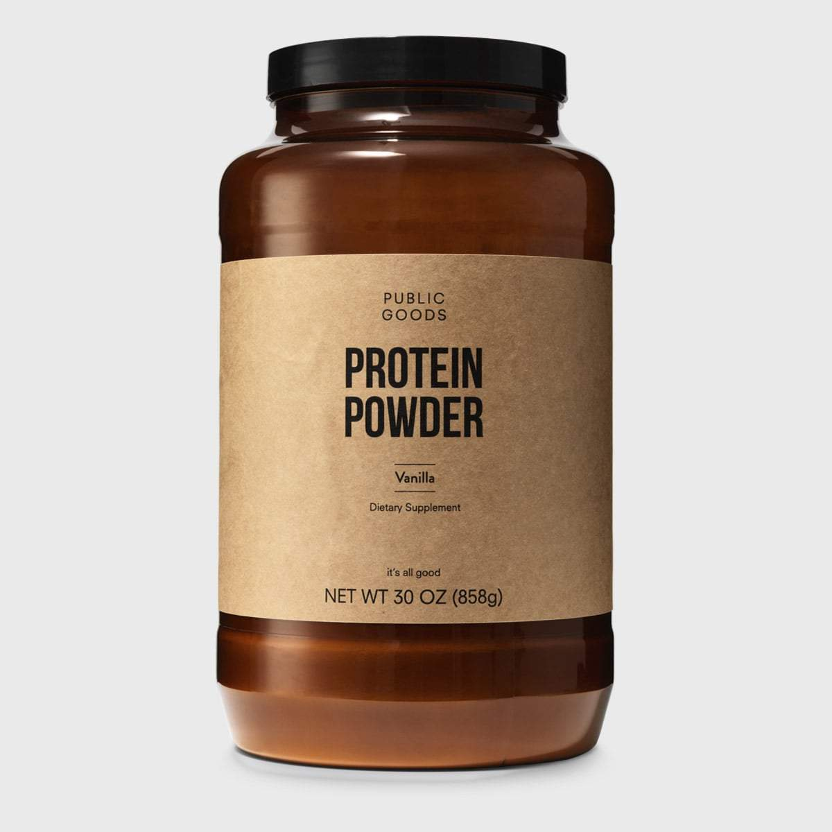 large bottle of vanilla protein powder