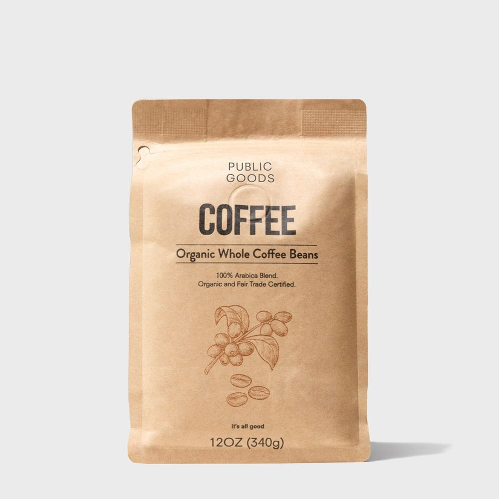 bag of organic whole bean coffee