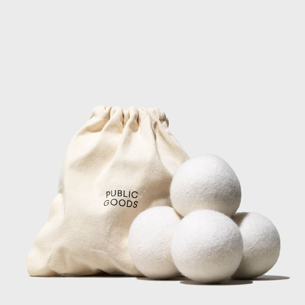 cotton bag, four wool dryer balls