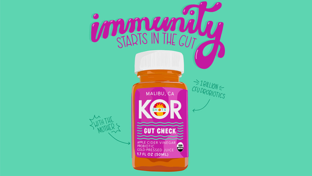 kor shots organic apple cider vinegar and probiotics gut check text with immunity starts in the gut
