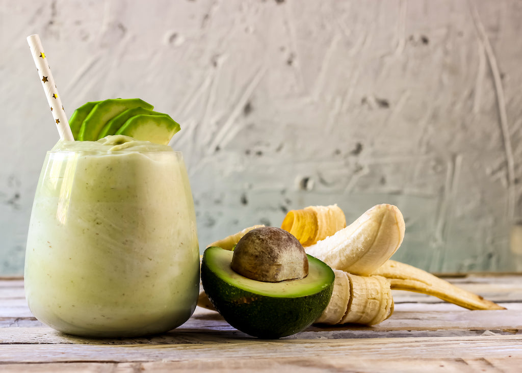 smoothie in cup with avocado and banana