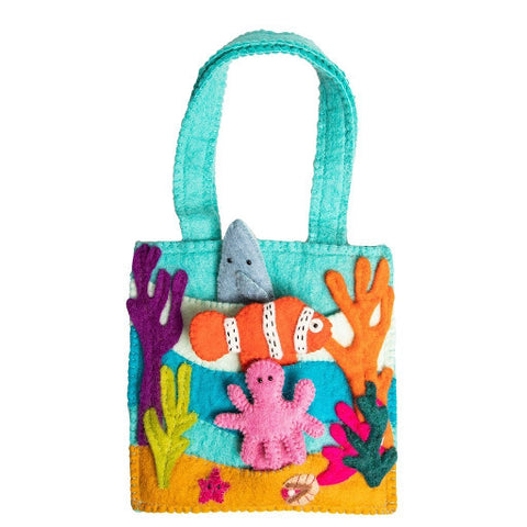 felt wool bag with sea creatures