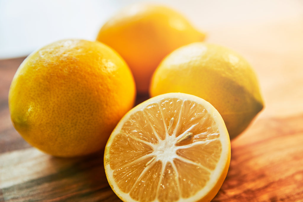 lemons close up on wooden table