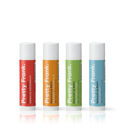 set of four lipbalm on white background