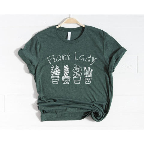 green t-shirt with text plant lady on white background