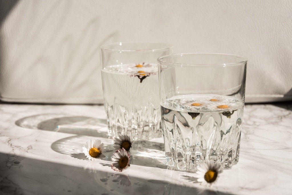 water glasses on a white table
