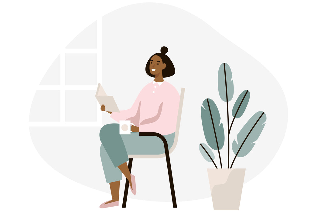 illustration of woman reading a book inside