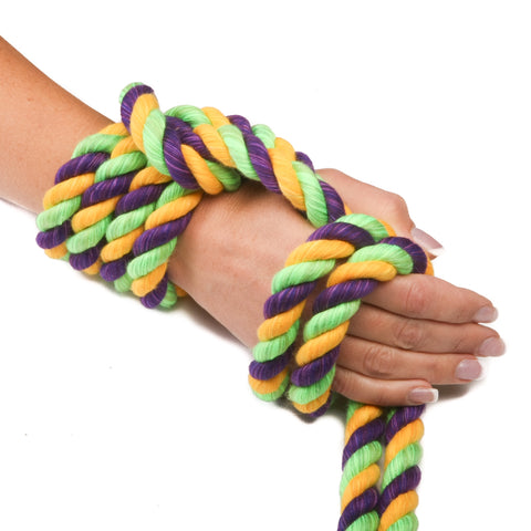 Ravenox Triple-Strand Twisted Cotton Rope in Lime, Gold and Purple