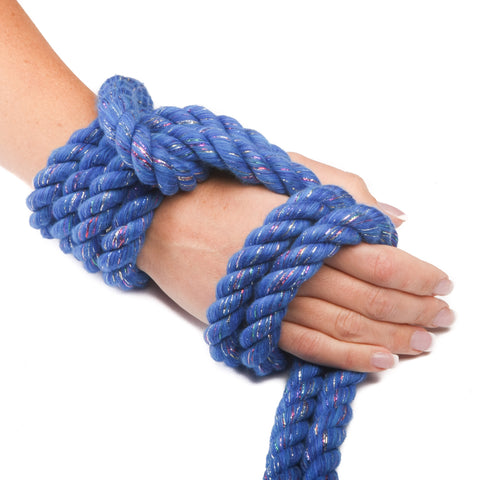 Ravenox Triple-Strand Twisted Cotton Rope in Royal Blue Glitter