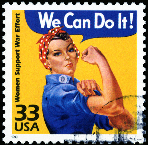 """Rosie the RIveter Stamp with """"We Can Do It"""" lining the top"""