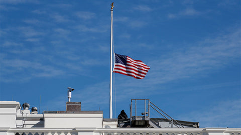 Ravenox flag flown at half-staff or half mast