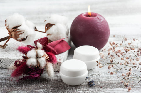 Burgundy Church Candle and Cotton