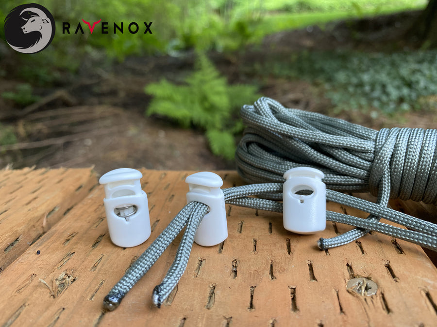 Ravenox White Ellipse Cord Locks for 550 Paracord Projects COVID-19 Face Masks Bungee Cord