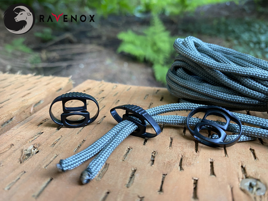 Ravenox Black CSL Cord Locks for 550 Paracord Projects COVID-19 Face Masks Bungee Cord